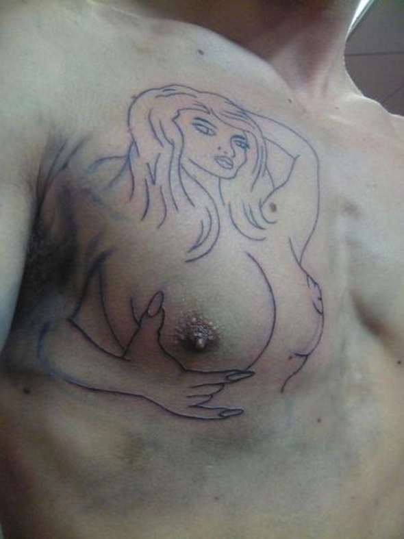 chick tits tattoo